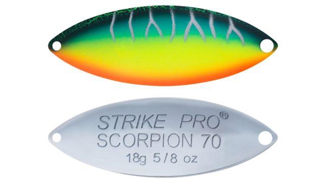 Блесна колеблющаяся Strike Pro Scorpion Double 70M двойник-незацепляйка, 18.0гр, 7.0см (ST-08BD#A223S-RP-CP, )